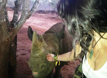 Ginna with baby rhino