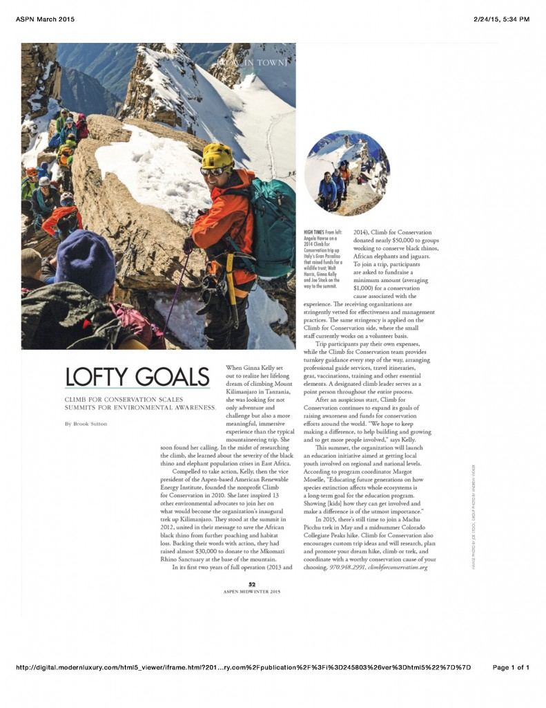 Climb for Conservation Featured in ASPEN MAGAZINE Spring 2015